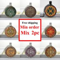 american art stone - NS Aztec Calendar necklace Sun Stone pendant Aztec Calendar jewelry Glass Art Picture Necklace