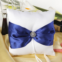 Wholesale Royal blue ribbon white ring pillow for wedding supplies with H diamond hot selling