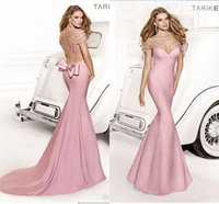 Cheap Top Selling Tarik Ediz Mermaid Pink Evening Dresses Sheer V-Neck Backless With Beading And Bow Sweep Train Evening Gowns Satin Formal Dress