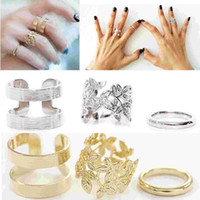 Band Rings punk - 3Pcs Set Hot Punk Girls Metall Gold Silver Leaf Above Knuckle Finger Ring Band Rings Jewelry