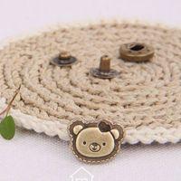 antique bear button - Antique Bronze Bear Head design metal snap buttons snap fasteners sets