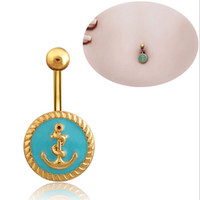 Wholesale Surgical Steel Gold Plated Blue Anchor Dangle Belly Button Ring a