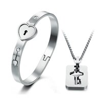 Wholesale Lovers Couple Heart Lock Bracelet Bangles with Lock Key Pendant Titanium Steel Jewelry Sets New