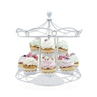 bakery display stand - Carousel Cupcake Stand Holder White Iron Two Tiers Cup Cake Dessert Display Tower For Birthday Wedding Party Bakery