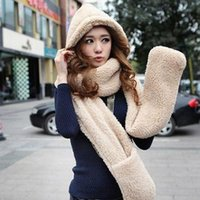 winter hat scarf and glove set - New Fashion Conjoined Hats For Women Men Hat Scarf Gloves Triad Hat And Scarf Set Cap Women Winter Hats Scarf Hood W3055