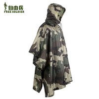 Wholesale Outdoor Camouflage Raincoat jungle multifunctional poncho hunting hiking camping poncho mats D nylon fabric scratch resistant