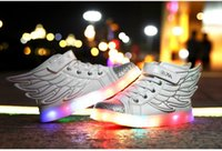 Wholesale Size Children Wing Shoes Kid Led Light Sneakers USB Charging Led Glow Shoe Colorful Luminous Sneakers for Girls and Boys