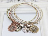 copper wire for jewelry - 2015 New LuReen Fashion Expandable wire bangle Retro alloy Tree of Life bracelet colors Alex and Ani style Lucky Jewelry for lovers gifts