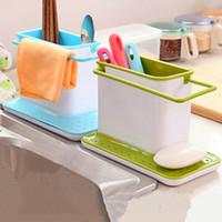 Wholesale pp plastic shelves in the kitchen sponge Storage Rack Drain chopsticks spoon rag rangement racks yellow blue green