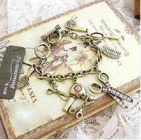 beaded hair strands - Bohemian Vintage Wind high quality alloy rhinestone hair drier scissor etc pendants bracelets for women