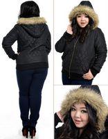 Wholesale Fat women Big Size Winter Warm Fur Hoody winter jacket women coats Chubby Girl Casual Thick Cotton Overalls clothing Outwear