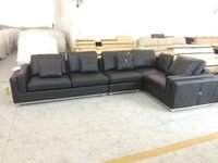 leather furniture - Upholstered furniture chaise lounge living room real leather sofa