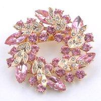 Wholesale Fashion Clear Crystal Rhinestone Gold Plated Chinese Redbud Flower Brooch Pin Jewelry Women Brooches for Scarf