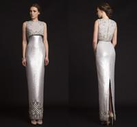 Wholesale 2015 Luxury Krikor Jabotian Evening Dresses Two Pieces Sequins Satin Sheath Long Silver Prom Dresses Split Back Spring Formal Gown Vestidos