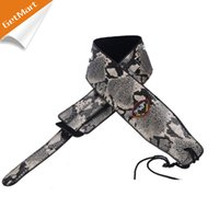 Wholesale New Grey Boa design adjustable inch PU leather Acoustic Guitar Strap bass with pick holder