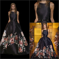 Wholesale Spring summer celebrity dress A line Saab Satin Petal Power Evening Dress Jewel Peony Floral Printed Waist Black Prom Pageant Dresses