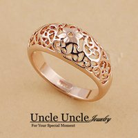 band element - 18K Rose Gold Plated Erstwhile Memory Element Totem Retro Carving Design Lady Finger Ring krgp