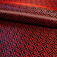 Wholesale Specials Red and black brocade fabric pattern small back silk satin fabric China Wind Home costume half a meter