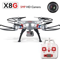 al por mayor quadcopter 4 canales-Syma X8G Helicópteros 5MP HD Cámara 2.4G 4CH RC Quadcopter Plata Drone