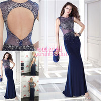 crystals for sale - 2015 Sexy Evening Gowns For Arabic Women Ladies Sale Cheap Custom Made Plus Size Sequins Dark Navy Blue Backless Mermaid Prom Formal Dresses