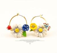 blue jade earrings - Les Nereides Garden series earring enamel glaze with diamond ladybug chrysanthemum and butterfly earrings with earring drop X053