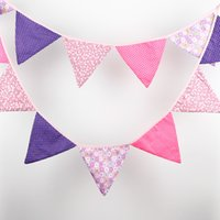 baby show decorations - Flags M Cotton Fabric Banners Customize Wedding Bunting Decor Purple Party Girl Birthday Baby Show Garland Decoration