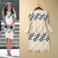 Cheap Wholesale Free shipping On sale 2014 Hitz European and American big Princess Kate same paragraph nine points sleeve lace dress Slim