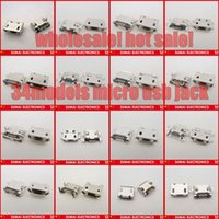 Cheap Sample packect! 34 Models Micro USB Jack 5p 5 pins Mini USB Connector For Samsung HTC Lenovo Zte...Mobile phone Tablet PC ect
