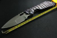 Wholesale New Tactical Survival Folding Knife Strider Custom SMF Purple Titanium ALLOY Handle MSC D2 Stainless Steel Blade Best quality