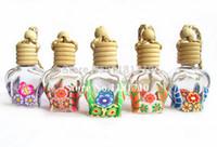 car perfume bottle - ml Car Perfume Bottle Pendant Polymer Clay Glass Essence Oil Bottle Hang Rope Jewelry Empty Bottle