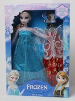 dolls clothes - Frozen Figure Play Princess Anna Elsa with Clothes Classic Toy Frozen Toys Dolls With Retail Box epacket