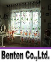 Wholesale LLFA7630 Rustic romantic window screening customize finished products balcony butterflies tulle curtain panel