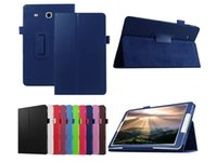 Wholesale Folio leechee Folding Stand Leather Case cover For Samsung Galaxy Tab E T560 T561 tablet cover case
