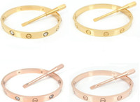 bangle - Fashion hot silver rose k gold plated L stainless steel screw bangle bracelet with screwdriver and original box