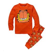 al por mayor bebé vaenait-La ropa del bebé de los pijamas de dibujos animados Garfied Longe manga ropa de dormir de los niños Conjunto Vaenait bebé niños niñas pequeñas ropa larga pijama Set