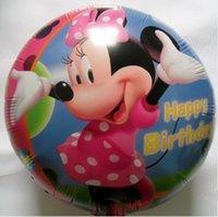 balloon skirt - 18inch Happy Birthday Dot pink Skirt Minnie Round Shape Foil Balloons