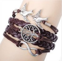 Wholesale The tree of life and retro bracelet and bird alloy parts manual multilayer woven Bracelet