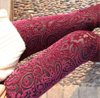 gold leggings - Embroidery Floral Lace Leggings Perspective Slim Pencil Pants Gold Velvet See through Skinny Trousers Tights Render Pant for Women Ladies