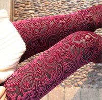 Wholesale New Women s Pants Popular Leggings Laser Embroidery Pattern Gold Velvet Backing Pants Lace Perspective Tights Render Pant