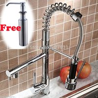 bamboo soap dispenser - and Retail Chrome Finished Deck Mounted Dual Spout Spring Kitchen Faucet With Free Soap Dispenser