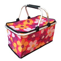Wholesale Large Size Foldable Insulated Cooler Picnic Basket with Double Handles Pink