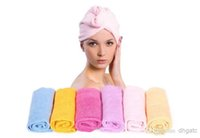 Wholesale Free DHL Microfiber Magic Hair Dry Drying Turban Wrap Towel Long haired Ultrafine Super Absorbent Fiber Hat Dry Hair Towel L470