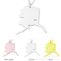 alaska states - America Alaska State Map Pendant Necklaces With Heart DIY State Pendent Necklace Stainless Steel jewelry