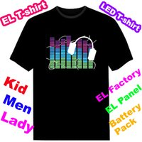 t-shirt - Luminous EL T shirt Sound Activated Flashing T shirt Lighting T shirt light up and down led t shirt EF32