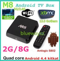 Wholesale M8 Smart Android IPTV TV BOX GB DDR3 GB Quad Core Amlogic S802 GHz K Streaming Media Stream Vedio Preinstalled XBMC13 IPTV