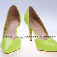 Wholesale Fashion Dress Shoes Stiletto Pumps High Heels cm Lime Green Fuchsia Women Office Evening Party Cocktail Wedding Bridal Accessories