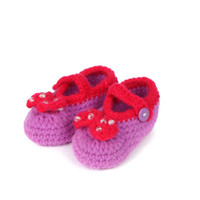 baby booties crochet pattern - Multicolor Bowknot Crochet Baby Booties Patterns Handmade Girls Shoes New Born Toddler Shoes cm