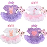 bebe clothing - New Baby Clothing Sets Infant Bunny Lace Tutu Romper Dress Jumpersuit Headband Shoes Set Bebe First Birthday Costumes girl tutu skirt