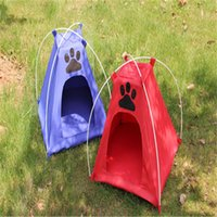 bear blue house - 40 cm Hot sale pets tent nest with supports stable house for dog camping use red and blue supply
