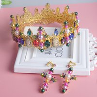 baroque pearl set - Luxurious Gold Plated Wedding Jewelry Sets Colorful Crystals Pearls Crown Ring Sets Baroque Fleur De Lis Bed Crown